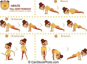 cuerpo, veinte, entrenamiento, lleno, minuto