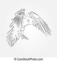 cuervo, bosquejo, vector