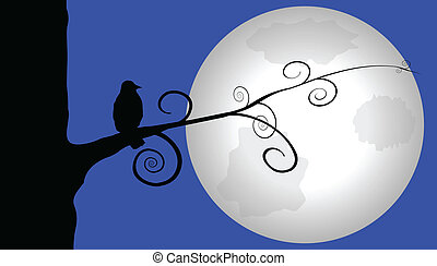cuervo, iluminado por la luna, perched, árbol