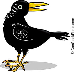 cuervo, ilustración, o, pájaro, caricatura, cuervo