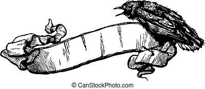 cuervo, vector, bandera, ilustración
