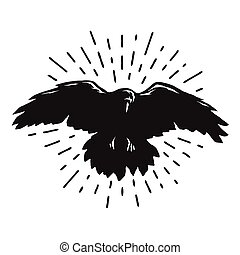 cuervo, vuelo, silhouette.