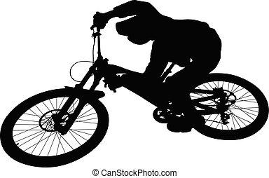 cuesta abajo, biking, salto, ciclista, montaña