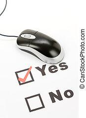 cuestionario, y, ratón de la computadora