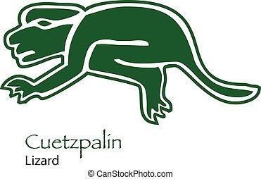 Cuetzpalin-Lizard Icon Isolated