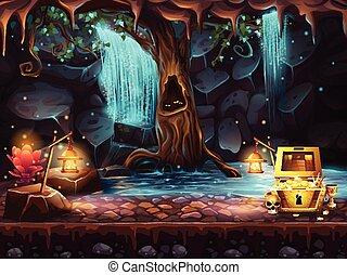 cueva, fantasía, cascada, tesoro, árbol, pecho