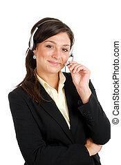 cuffia, affari donna, lei, communcations, presa a terra
