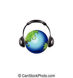 cuffia, globo, isolato, illustrazione, vettore, fondo, bianco