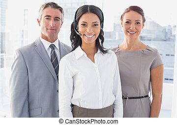 cuffia, lavoro, il portare, donna d'affari