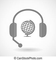 cuffia, remoto, assistenza, mondo, tavola, globo, icona