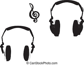cuffie, e, nota musica