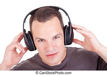 cuffie, isolato, fondo, ascoltare musica, studio, bianco, colpo, uomo