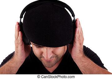 cuffie, isolato, fondo, ascoltare musica, studio, cappello bianco, colpo, uomo