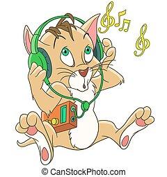 cuffie, musica, cartone animato, gatto