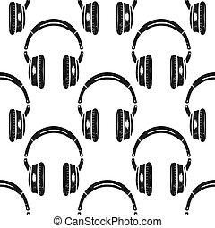 cuffie, seamless, pattern., simbolo musica, silhouette, afflitto, style., musicale, carta da parati, fondo., casato, vettore, isolato, bianco, fondo