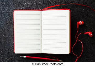 cuffie, text., quaderno, scuro, fondo., penna, carta, rosso, vuoto, aperto, vuoto