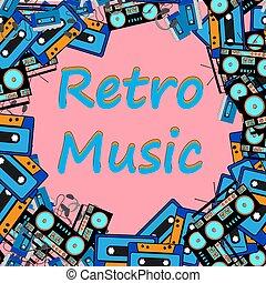 cuffie, vecchio, fatto, cornice, tecnica, audio, space., giocatore, hipster, musica, 90, fondo, registrare registratore cassetta, copia, 80, retro