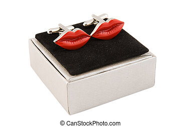 cufflinks, lip-shaped