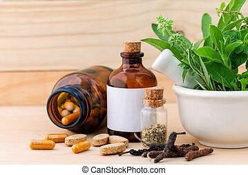 cuidado, alternativa, fresco, de madera, herbario, salud, cápsula, mortero, fondo.