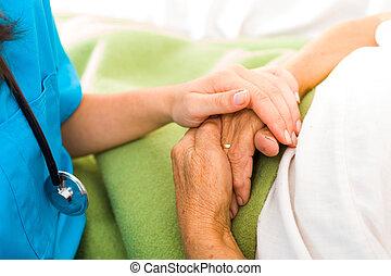 cuidado, amor, e, confiança, para, anciões