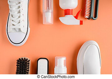 cuidado, blanco, fondo anaranjado, shoes, suministros