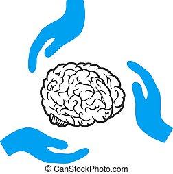 cuidado, cérebro, vetorial, ícone, mãos