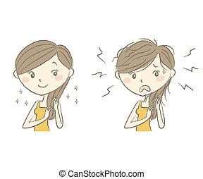 cuidado cabelo, mulher, após, antes de