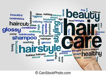 cuidado cabelo, palavra, nuvem