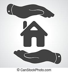 cuidado, casa, -, ilustración, vector, manos, proteger,...
