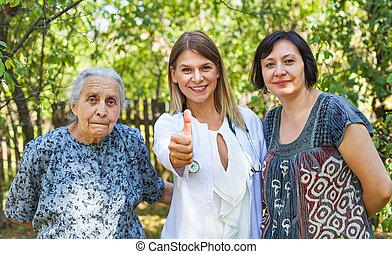 cuidado, -, cima, idoso, polegares