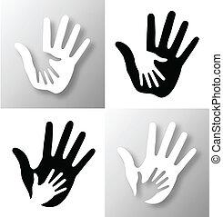 cuidado, conjunto, hands.