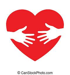 cuidado, corazón, icono, manos