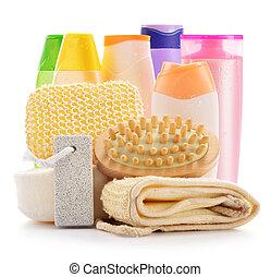 cuidado corpo, produtos, isolado, acessórios, branca, beleza