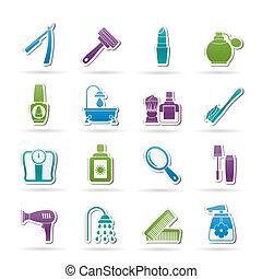 cuidado cuerpo, cosméticos, iconos