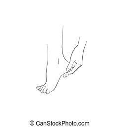 cuidado cuerpo, mujer, pie, mano