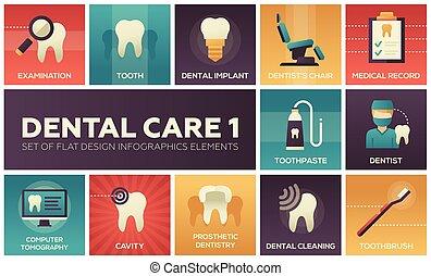 cuidado dental, -, conjunto, de, plano, diseño, infographics, elementos