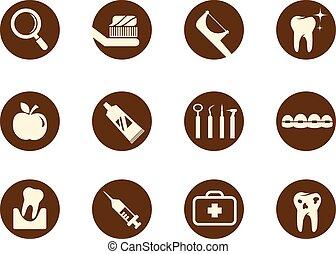 cuidado, dental, jogo, ícone, dentes