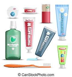 cuidado dental, productos, realista, conjunto