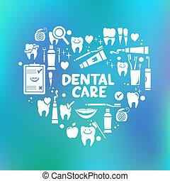 cuidado dental, símbolos, em, a, forma, de, coração