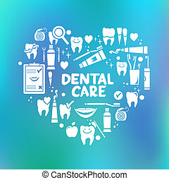 cuidado dental, símbolos, en, el, forma, de, corazón