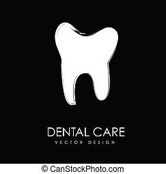 cuidado, dental, silueta