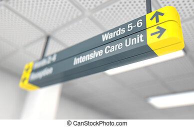 cuidado, direccional, unidad, intensivo, señal, hospital