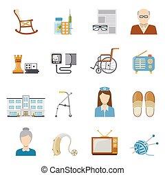 cuidado edad avanzada, en, clínica privada, iconos
