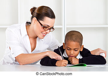 cuidado, elemental, profesor, porción