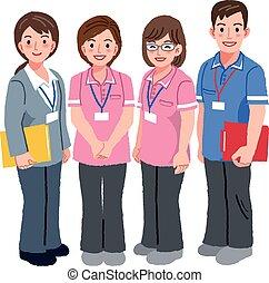 cuidado geriátrico, director, y, trabajadores sociales