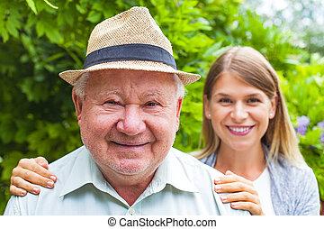 cuidado idoso, ao ar livre