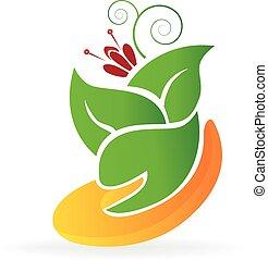 cuidado, logotipo, flor, leafs, mano