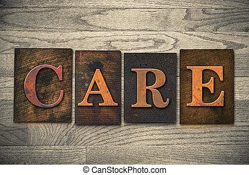 cuidado, madeira, letterpress, tema