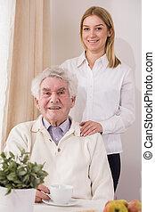 cuidado mayor, ayudante, y, jubilado
