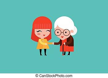 cuidado, mujer, joven, anciano, voluntario